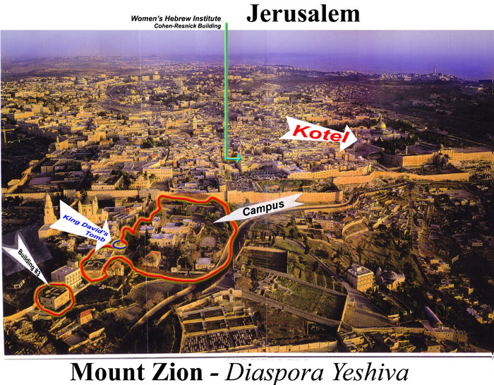 Map Of Jerusalem With Campus And Dormitory Building Highlighted